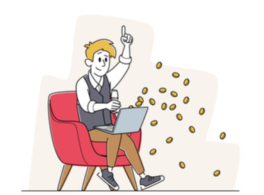 a smiling online casino gamer playing on his laptop with coins flying out of his computer representing the bonus he just accepte