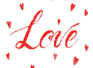 the word LOVE in red handwriting on a white background with little red hearts